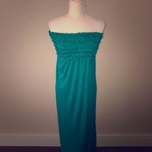 Teal Strapless Maxi Dress